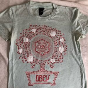 Obey light green printed T-shirt